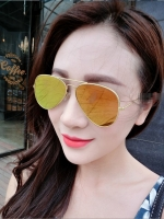 แว่นตากันแดดแฟชั่นเกาหลี กรอบทองเลนส์ปรอทสีทอง