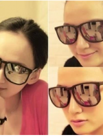 แว่นตากันแดดแฟชั่นเกาหลี กรอบดำด้านเลนส์กระจก