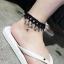 สร้อยข้อเท้า ผ้าสีดำประดับลายมงกุฏห้อยเพชร แฟชั่นเกาหลี thumbnail 3