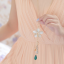 สร้อยคอเกาหลีรูปดอกไม้สีขาวประดับอัญมณีติดเพชร thumbnail 5
