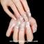 เล็บปลอมไฮโซแฟชั่นลายผ้าสีขาวรูปดอกไม้ประดับเพชรไข่มุก(PINK NAIL)กล่องละ24ชิ้น thumbnail 1