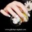 เล็บปลอมไฮโซแฟชั่นลายผ้าสีขาวรูปดอกไม้ประดับเพชรไข่มุก(PINK NAIL)กล่องละ24ชิ้น thumbnail 2
