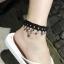 สร้อยข้อเท้า ผ้าสีดำประดับลายมงกุฏห้อยเพชร แฟชั่นเกาหลี thumbnail 1