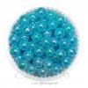 ลูกปัดพลาสติก เคลือบรุ้ง 8มม. สีฟ้า (15 กรัม)