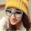 แว่นตาแฟชั่นเกาหลี กรอบหัวใจสีฟ้าอ่อน (ไม่มีเลนส์)