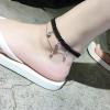สร้อยข้อเท้า ผ้าถักสีดำลายดอกไม้เลื้อยห้อยเพชร แฟชั่นเกาหลี