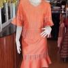 ชุดเสื้อกระโปรงผ้าฝ้ายสุโขทัยแต่งลายมุกสายรุ้ง ไซส์ S
