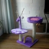 MU0064 คอนโดแมวสองชั้น ต้นไม้แมว รูปเท้าสัตว์ กระบะนอน ของเล่นลูกตุ้มแขวน สูง 82 cm