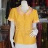เสื้อผ้าฝ้ายสุโขทัยสีเหลืองแต่งผ้าลายหมากรุก ไม่อัดผ้ากาว ไซส์ M