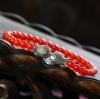 สร้อยข้อเท้า ธรรมชาติโมราสีแดงปลาจูบ Retro