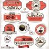 ฉลากอาหาร ของกิน สไตล์การออกแบบดีไซน์แบบใช้สีที่สดุดตา ฉลากไว้ใช้แปะกับแพคเกจกล่องกาแฟ,แก้วกาแฟ // ตัวอย่างดีไซน์ สติ๊กเกอร์ฉลาก Chill Shop Package