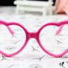 แว่นตาแฟชั่นเกาหลี กรอบหัวใจสีชมพูเข้ม (ไม่มีเลนส์)