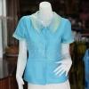 เสื้อผ้าฝ้ายสุโขทัยสีฟ้าแต่งผ้าลายหมากรุก ไม่อัดผ้ากาว ไซส์ S
