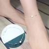 สร้อยข้อเท้าเกาหลี Silver colored square pendulum