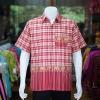 เสื้อเชิ้ตผ้าฝ้ายทอลายช้าง ไม่อัดผ้ากาว สีแดง-เหลืองอ่อน ไซส์ S