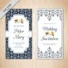 การ์ดแต่งงาน Wedding card สไตล์การออกแบบดีไซน์แบบใช้พื้นหลังสีขาวและตกแต่งลวดลายกราฟิกสีน้ำเงินทำให้ดูหรูหรายิ่งขึ้น การ์ดงานแต่ง ไว้สำหรับ เรียนเชิญแขกผู้มีเกียรติเข้ามาร่วมงานแต่งงาน // ตัวอย่างดีไซน์ การ์ดแต่งงาน การ์ดเชิญ การ์ดสวยๆ