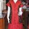 เดรสผ้าไหมแพรทองสีแดงปกเชิ้ตแต่งผ้ามัดหมี่ ไซส์ M