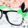 แว่นตาแฟชั่นเกาหลี กระต่ายดำเขียว (ไม่มีเลนส์)