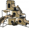 MU0128 คอนโดแมวขนาดใหญ่ บ้านแมว กระบะนอน บ้านอุโมงค์ มีของเล่นแขวน ถอดแยกชิ้นวางได้ สูง 142 cm
