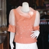 เสื้อผ้าฝ้ายสุโขทัย ปกและแขนผ้าแก้ว ไซส์ 3XL
