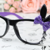 แว่นตาแฟชั่นเกาหลี กระต่ายดำม่วง (ไม่มีเลนส์)