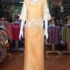 ชุดเสื้อกระโปรงผ้าไหมแพรทองแต่งลูกไม้ สีทองอ่อน ไซส์ 3XL