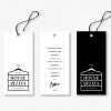 ไอเดียสำหรับการพิมพ์ ป้ายกระดาษ // สไตล์การออกแบบโดยการใช้โทนสีขาวดำตกแต่งป้าย เพิ่มความโดดเด่นสวยงาม ป้ายกระดาษใช้สำหรับ ห้อยแขวนสินค้า ห้อยแขวนของขวัญ ป้ายเสื้อ