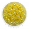 ลูกปัดพลาสติก เคลือบรุ้ง 10มม. สีเหลือง (15 กรัม)