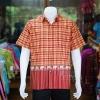 เสื้อเชิ้ตผ้าฝ้ายทอลายช้าง ไม่อัดผ้ากาว สีแดง-เหลือง ไซส์ M