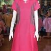 เดรสผ้าฝ้ายสุโขทัยแต่งผ้ามุกสายรุ้งคอจีน ไซส์ M