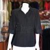 เสื้อผ้าฝ้ายสุโขทัยสีดำ ปกเชิ้ตคอวี ไซส์ L