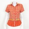 เสื้อผ้าทอลายช้างปกเชิ้ต สีส้ม ไซส์ M