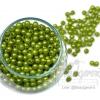 ลูกปัดมุกพลาสติก 5มิล สีเขียวใบไม้ (120 กรัม)