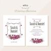 การ์ดแต่งงาน Wedding card สไตล์การออกแบบดีไซน์แบบเรียบๆและนำช่อดอกไม้สีม่วงมาตกแต่งระหว่างกลางเพิ่มความสวยงามหรูหรา การ์ดงานแต่ง ไว้สำหรับ เรียนเชิญแขกผู้มีเกียรติเข้ามาร่วมงานแต่งงาน // ตัวอย่างดีไซน์ การ์ดแต่งงาน การ์ดเชิญ การ์ดสวยๆ