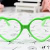 แว่นตาแฟชั่นเกาหลี กรอบหัวใจสีเขียว (ไม่มีเลนส์)