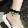 สร้อยข้อเท้า ผ้าสีดำประดับลายมงกุฏห้อยเพชร แฟชั่นเกาหลี