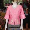 เสื้อผ้าไหมแพรทองแต่งลูกไม้ สีชมพู ไซส์ L