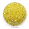 ลูกปัดพลาสติก เคลือบรุ้ง 8มม. สีเหลือง (15 กรัม)