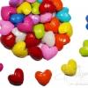 ลูกปัดอะคริลิค 15มม. ลายหัวใจอ้วน คละสีสด (500 กรัม)