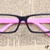 แว่นตาแฟชั่นเกาหลี สีดำชมพูอ่อน (ไม่มีเลนส์)