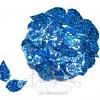 เลื่อมใบไม้ดิสโก้ 13x25มม. สีน้ำเงิน (80 กรัม)