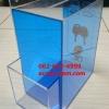 กล่องรับความคิดเห็นติดผนังสีฟ้าโปร่งและใส