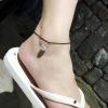 สร้อยข้อเท้า เชือกหนังร้อยเพชร เกาหลี