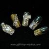 เล็บปลอมไฮโซคุณภาพสีทองสลับเงินประดับเพชรพลอย(Claire's)ไม่ทำให้เล็บเสีย กล่องละ24ชิ้น พร้อมกาวอย่างดี1หลอด