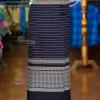 ผ้าถุงป้าย ผ้าทอลายชวนชม เอว 30 นิ้ว สีกรมท่า