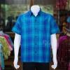 เสื้อเชิ้ตผ้าทอลายสก็อต ไม่อัดผ้ากาว สีน้ำเงิน-เขียว ไซส์ XL