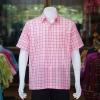 เสื้อเชิ้ตผ้าทอลายสก็อต ไม่อัดผ้ากาว สีชมพู ไซส์ 2XL