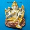 พระพรหมบันดาลโชค รุ่น ยกช่อฟ้า หลวงพ่อหวั่น วัดคลองคูณ จ.พิจิตร เนื้อทองผสมชุบสามกษัตริย์ขัดเงา สร้าง 999 องค์
