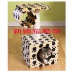 MU0111 คอนโดแมวสองชั้นขนาดกระทัดรัด ต้นไม้แมว บ้านอุโมงค์ ของเล่นแขวน สูง 60 cm
