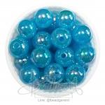 ลูกปัดพลาสติก เคลือบรุ้ง 12มม. สีฟ้า (15 กรัม)
